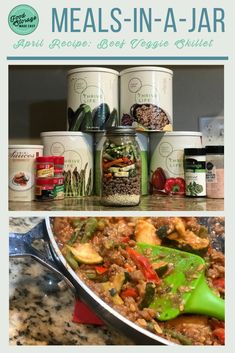 This Beef Veggie Skillet recipe is the featured meal-in-a-jar recipe using the April monthly specials. It is a great way to use these healthy vegetables! Veggie Skillet Recipe, Skillet Meals, Emergency Preparedness Food, Survival Food, Canning Recipes, Jar Recipes, Recipies, Backpacking Food, Hiking Food