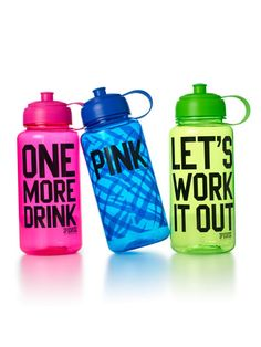 "Sports Gifts for Friends - Fitness Products and Gifts - Seventeen- Ever find yourself needing a whole lot of motivation when your working out? Well these are perfect! Keeps you healthy( ""One More Drink"") and motivated ( ""Let's Work Out"") ! #17holiday"