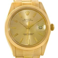 Rolex Date Mens Yellow Gold Vintage Watch. Get the lowest price on Rolex Date Mens Yellow Gold Vintage Watch and other fabulous designer clothing and accessories! Shop Tradesy now Dream Watches, Luxury Watches, Rolex Oyster Perpetual Date, Rolex Logo, Rolex Date, 3 O Clock, Watch Sale, Vintage Watches, Oysters