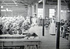 Poplar workhouse dining hall, Inmates were ill clad, with poor diet, and there was little or no discipline. Families were separated, death rates were relatively high due to over crowding and poor sanitary conditions. London History, British History, Uk History, East End London, Old London, Victorian London, Vintage London, Victorian Era, London Today