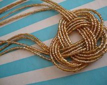 Gold Beaded Necklace Knot Necklace Summer Necklace Golden Beads Victorian Style Jewelry for Flapper Dress OC Jewelry