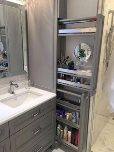 Great option for makeup storage in bathroom cabinetry! Great option for makeup storage in bathroom cabinetry! Gorgeous Bathroom, Diy Bathroom, Bathroom Cabinetry, Bathroom Makeover, Small Bathroom, Storage, Bathroom Design, Bathroom Decor, Bathroom Renovation