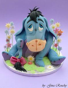 Eeyore Cake by ginas-cakes on deviantART, soo cute! I love Eeyore! Crazy Cakes, Fancy Cakes, Pretty Cakes, Cute Cakes, Yummy Cakes, Fondant Cakes, Cupcake Cakes, Fondant Bow, Fondant Flowers