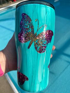 Diy Tumblers, Tumbler Cups, Cricut, Butterfly, Crafty, How To Make, Desktop, Create A Critter, Butterflies