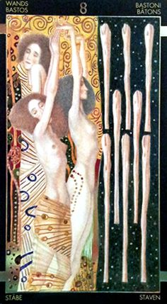 Golden Tarot of Klimt -- Eight of Wands