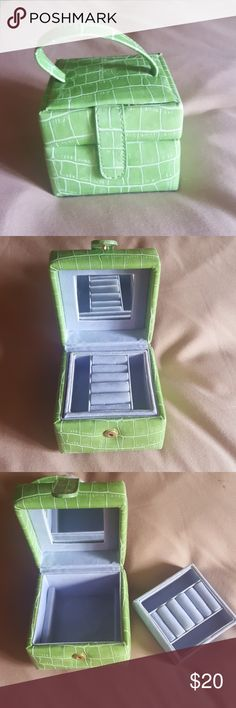 Jewelry travel case Jewelry travel case. It is 3.5 inches tall and 4 inches wide can hold 5 rings in the top. Last picture shows a slight discoloration Bags Travel Bags