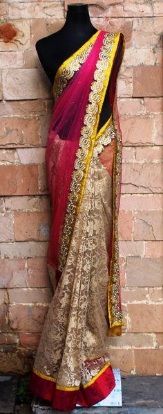 Beige lace net sari with fuchsia-red shaded net dabka work sari #dabkaworksari #lacenetsari #pritisahnidesigns