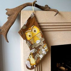 Love this! A little bit different for Xmas. Retro Christmas Stocking Owl and Squirrel 70s by audreyscat, £14.00