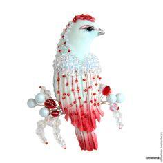 Купить Брошь-птица «Лёд и пламень».Праздничная серия.Вышитая бисером брошь. - брошь птица