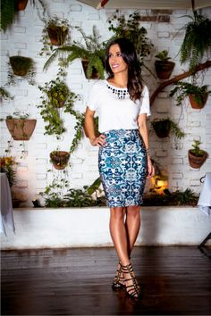 Bold Printed Skirt w/White Shirt.