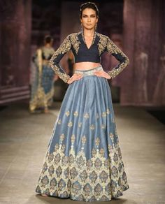 So good on saris and lehengas. Soft Blue Lengha with Embroidered Navy Blouse by Anju Modi Indian Wedding Outfits, Pakistani Outfits, Indian Outfits, Wedding Dresses, Indian Attire, Indian Wear, Bride Indian, India Fashion, Asian Fashion