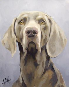 One Off ORIGINAL Painting of a Weimaraner By L Dolan approx A4