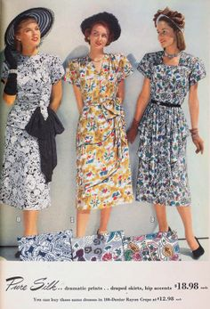 Photo from Sears 1948 spring catalogue. Tropical Prints was a technique popular at last half of 1940s to early 1950s. I love  tropical prints because it look fresh, interest and colorful.