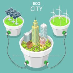 Buy Eco City Flat Isometric Vector Concept by TarikVision on GraphicRiver. Flat isometric vector concept of eco city, solar panels, windmills, alternative green energy, wind turbines. Future City, Adobe Illustrator, Eco City, Geothermal Energy, Poster Drawing, Green Technology, Best Solar Panels, Solar Energy System, Smart City