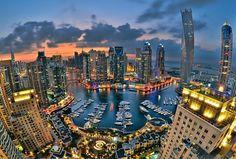 DUBAI,+UAE+-+JANUARY+10:+Beautiful+aerial+view+of+Dubai+Marina+just+after+the+sunset+in+Dubai+January+10,+2014