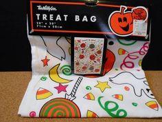 "Vintage Large 28"" x 20"" Cloth Halloween Candy Treat Bag NOS"