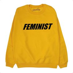 Feminist Sweater Sweatshirt Jumper Activist Black Yellow Gold Grey S M... ($21) ❤ liked on Polyvore featuring tops, hoodies, sweatshirts, sweaters, patterned sweatshirt, grey sweatshirt, thermal sweatshirt, gray top and gold sweatshirt