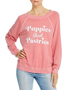 Wildfox Sommers Puppies & Pastries Sweatshirt In Pigment French Rose Sweatshirts Online, Google Shopping, Wildfox, Graphic Sweatshirt, Puppies, Stylish, Casual, Pastries, Sweaters