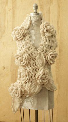 Free Crochet Pattern: Irish Lace Scarf Diy Tricot Crochet, Crochet Lace Scarf, Crochet Gratis, Crochet Motifs, Irish Crochet, Crochet Scarves, Crochet Flowers, Hand Crochet, Crochet Lion