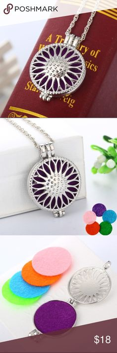 ✨NEW Listing✨Sunflower diffuser locket necklace Sunflower aromatherapy oil diffuser locket necklace. Not interested in trades. III Chain length:  Pendant Size:  Includes 5 felt pads (pink, purple, sky blue, orange, green) Jewelry Necklaces