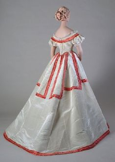 Ballgown, ca 1864, Kent State Some of the beads are tiny pearls