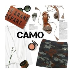 """Camo style!"" by magdafunk ❤ liked on Polyvore featuring Rebecca Taylor, McGinn, Aquazzura, Prada, Clare V., Urban Decay, sandals, whiteshirt, MINISKIRT and camostyle"