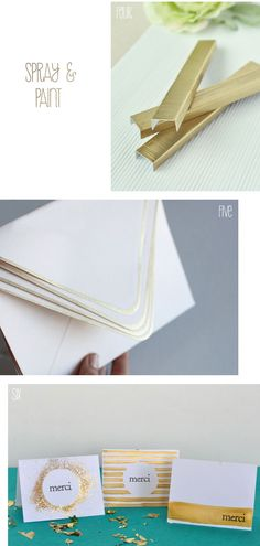 Gold Stationary  DIY-able (CardStock, gold spray paint & glitter).