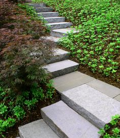 Garden stairs- granite and bluestone .... exactly what I need for the slope in the front yard...