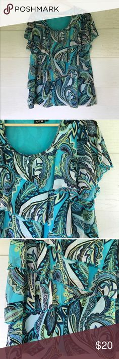 Paisley ruffle top blouse Size 1x. Blue paisley blouse with ruffles down the front. 25 bust 28 length. All measurements are approximate Apt. 9 Tops