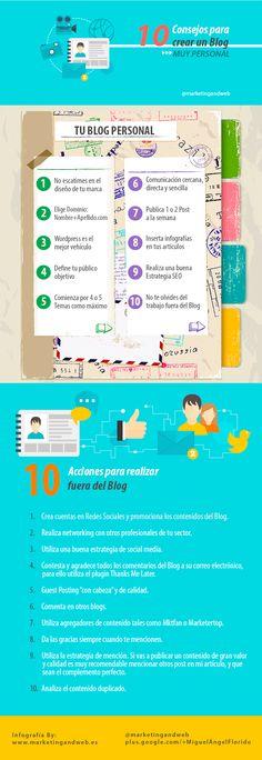 10 consejos para crear un blog muy personal #infografia #infographic #socialmedia
