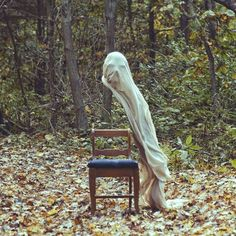 light cloth Halloween ghost decor for outdoor 2014 - mask, homemade #2014 #Halloween