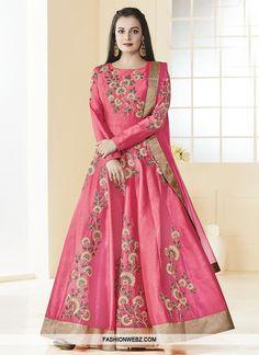 159890b501f Bollywood Actress Dia Mirza in Pink Color with Silk Anarkali Salwar Kameez
