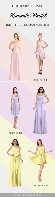 Our pastel bridesmaid dresses including pastel pink, pastel lilac and pastel yellow can be custom made to all sizes including plus size. They are mostly sold under 100. What affordable pastel bridesmaid dresses with high quality they are!