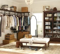 Dressing Room - organized and open, what's not to love about this space?! - via Pottery Barn:  New York Closet Shelves