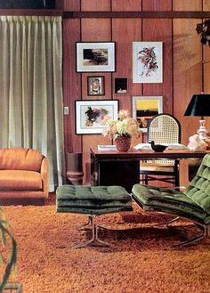 Green is a very fun retro color that would make for a great statement. Doesn't have o be velvet. But Green + black/white or a Green + yellow accent color combo is fun a very much a nod to 1971 home interior Design Retro, Retro Interior Design, Mid-century Interior, Interior Decorating, Decorating Blogs, Modern Design, 1970s Decor, Funky Home Decor, Home Decor Bedroom