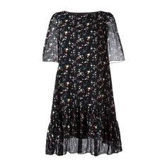 SAINT LAURENT Floral Print Dress (€1.955) ❤ liked on Polyvore featuring dresses, black, short-sleeve dresses, floral pattern dress, ruffle hem dress, silk floral dress and round neck dress