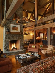 Stunning Rustic Mountain Home Great Room, dining, amazing ceiling, etc.!