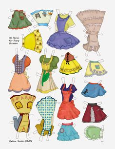 AN APRON FOR EVERY OCCASION | The newest issue of OPDAG Paper Doll Studios finally came in.  Issue 109's. 2014,  theme was Housewife.  MISSMISSY designed this two page paper doll featuring vintage aprons as her entry for the magazine. 2 of 2