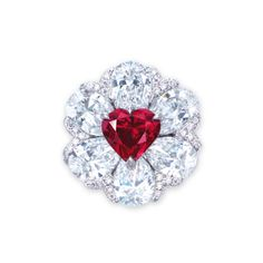 A STUNNING COLOURED DIAMOND AND DIAMOND RING, BY MOUSSAIEFF. DESIGNED AS A FLOWERHEAD, SET WITH A HEART-SHAPED FANCY RED DIAMOND WEIGHING 2.09 CARATS, WITHIN A PETAL SURROUND SET WITH SIX PEAR-SHAPED DIAMONDS WEIGHING 1.07 TO 1.01 CARATS, ACCENTED BY BRILLIANT-CUT DIAMONDS, TO THE SIMILARLY-CUT DIAMOND THREE QUARTER-HOOP, MOUNTED IN 18K WHITE GOLD, RING SIZE 5½, IN BLACK SUEDE MOUSSAIEFF CASE.
