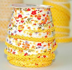 Bias Tape Yellow Floral Cotton and Lace Double Fold