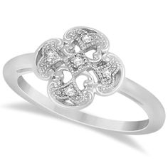 This diamond four leaf clover ring has five near colorless diamonds with a total carat weight of 0.03.<p>Beautifully designed, this sterling silver diamond ring is a lovely gift for your lucky lady.<p> This 5 stone diamond ring showcases beautiful diamonds in a four leaf clover design, prong set in a highly polished sterling silver.<p>This is the perfect traditional Irish ring with diamond accents for a special friend to wear as a right hand, friendship or stylish fashion ring.