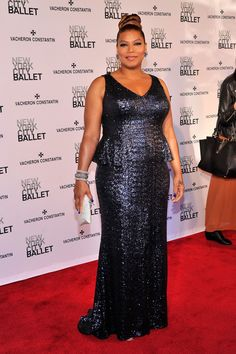 Queen Latifah Red Carpet in Carmen Marc Valvo at the 2013 NYC Ballet