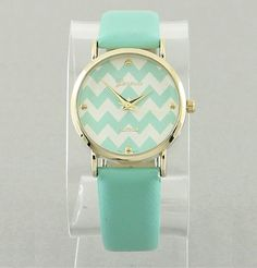 Mint & White Chevron Watch - product images