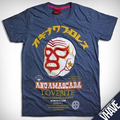 Asian size XL -- V018.Angamascara (Heather Dark Blue) : Unique Hand Screen Printed Vintage Graphic T-shirt --- Men Women Unisex Retro