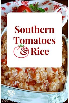 Southern Tomatoes and Rice Looking for a rice recipe? Southern Tomatoes and Rice is an easy side dish and classic favorite that has been enjoyed for generations. This recipe works well with canned or fresh tomatoes. Rice Side Dishes, Dinner Side Dishes, Vegetable Side Dishes, Side Dishes Easy, Side Dish Recipes, Vegetable Recipes, Food Dishes, White Rice Recipes, Rice Recipes For Dinner