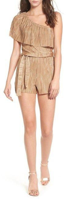 Mimi Chica Plisse One-Shoulder Romper http://shopstyle.it/l/uKBH #summeroutfit #romper