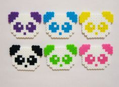 6pc PANDAS MAGNET SET // Kawaii Animals Colorful Panda Bears // Purple, Blue, Yellow, Black, Green, and Pink // Perler Beads