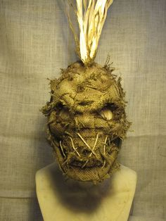 Handmade Burlap Scarecrow Latex Halloween Mask Full by rigator, $110.00