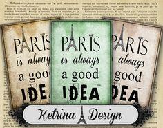 Paris is always a good idea 2 ATC cards 2.5 x 3.5 by KetrinaDesign