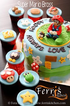 Super Mario Bross cake and cupcakes by Ferris Kitchen
